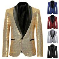 Business Mens Sequins Sparkly Suit Blazer Wedding Party Outwear Jacket Tops Coat