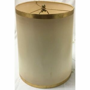 Vintage Cylinder Cream Lampshade with Gold Trim | Large