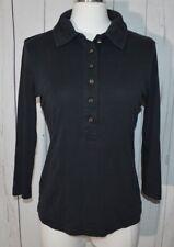 Tory Burch 3/4 Sleeve Button Down Black Polo Henley Shirt Retail Size Medium