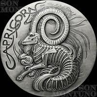 CAPRICORN - #12 SkullCoins 2015 ZODIAC Memento Mori Series 1oz .999 SILVER Round