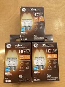 Relax HD Soft White 40W LED Clear Decorative Blunt Tip Medium Base BM Bulbs -6PK