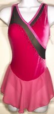 Was $119.95 GK ELITE SLVLS PINK VELVET ICE FIGURE SKATE DRESS BLACK MESH JA AXS