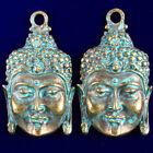 2Pcs Weight 20g Carved Brass Bronze Kwan-yin Head Pendant Bead 50x30x5mm S-37PJ