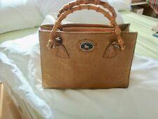 Dooney& Bourke Authentic Vintage Tan Ostrich Pattern Leather bamboo handbag