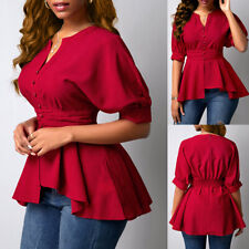 Womens Vintage V Neck Puff 3/4 Sleeve Blouse Frill Irregular Shirts Party Tops