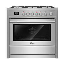 "Empava 36"" Slide-In Single Oven Gas Range with 5 Burners Cooktop Stainless Steel"