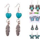7 styles Vintage Tibetan Silver Turquoise Crystal Hook Earrings Dangle