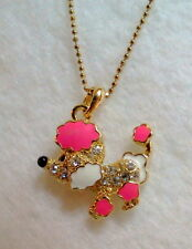 Pink Wiggly Earred Crystal Poodle Novelty Necklace Gold Tone