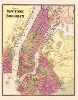 MAP ANTIQUE 1868 ANON NEW YORK BROOKLYN CITY PLAN REPLICA POSTER PRINT PAM1883