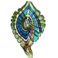 P2630 Multi-Color Foil Swirl 72mm Lampwork Glass Leaf Drop Pendant