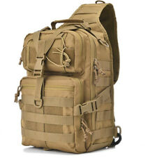 Tactical Shoulder Sling Bag Pack Military Backpack Day Pack USA Flag Patch Tan