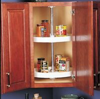 Upper Corner Cabinet Swivel Lazy Susan 2-Shelf Kitchen Storage Organizer White