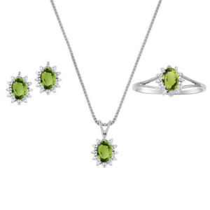 Peridot & Diamond Pendant, Earrings & Ring Set in 14K White Gold with Chain
