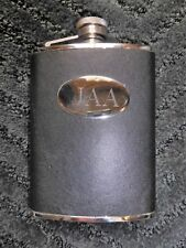 New listing Stainless Steel 8 oz. Black Flask w/ Silver Embossed Jaa Initials