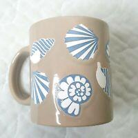 Vtg Waechtersbach West Germany Seashells Coffee Mug Cup Sand Blue White