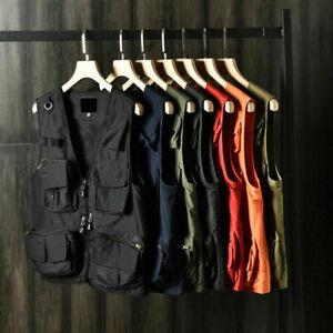 Men's Cargo Waistcoat Multi Pockets Mesh Vest Gilet Fishing Outdoor Work Travel