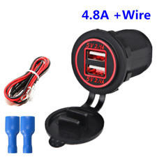 12V Waterproof Dual 2.4A USB Charger Socket Power Outlet Red LED For Motorcycles