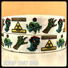 "ZOMBIE RIBBON. 1"" Grosgrain.  Scrapbooking/Craft. Horror Movie, Undead,Halloween"