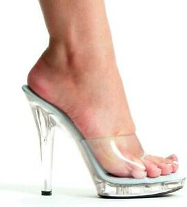 Sexy Open Toe Clear Upper Stiletto Mule High Heels Shoes Adult Women