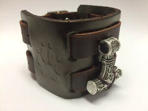 Lederarmband XL Thors Hammer Mjölnir Breit Breites Armband Armreif Wikinger