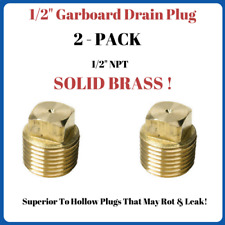 """Solid Brass Garboard Boat Hull Drain Plug 1/2"""" Pipe Plug Sea Ray Bayliner 2 Pack"""