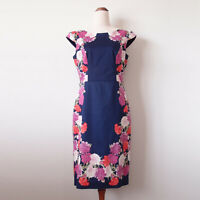 REVIEW Forest Bloom Navy Pink Purple Floral Print Fitted Pencil Dress Size 10