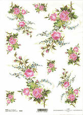 Rice Paper for Decoupage Scrapbooking, Pink Roses and Blue Flowers ITD R684