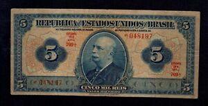 BRAZIL  5  MIL REIS  ( 1925 )  PICK # 29c  FINE.