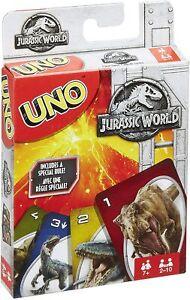 Mattel Games Uno Jurassic World Family Card Game Jurassic Park Uno 2-10 Players
