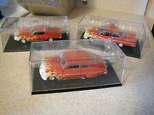 ROAD CHAMPS 1/43 SET OF 3 FLAME HOT ROD CARS1959 CHEVY 1949 MERCURY 1969 PONTIAC