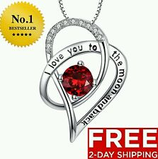 REAL STERLING SILVER NECKLACE I LOVE YOU PENDANT BIRTHDAY GIFT MOM HER RED WIFE