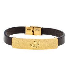 Gold Pt Engraved Allah Leather  Bracelet Muslim Quran Islamic Arabic Islam God