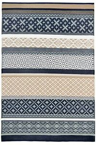 New Green Decore Prime Plastic Reversible Outdoor Rug Dark Blue Grey Taupe 3x5