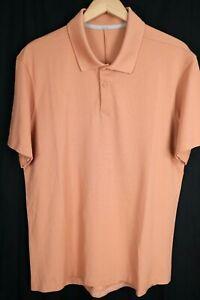 Lululemon Mens sz XL Orange Vented Short Sleeve Athletic Polo Fishing Shirt