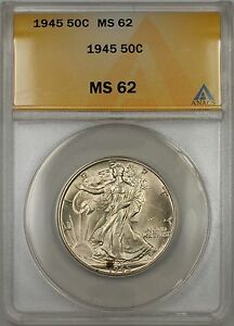 1945 Walking Liberty Silver Half Dollar 50c ANACS MS 62 (Better Coin)