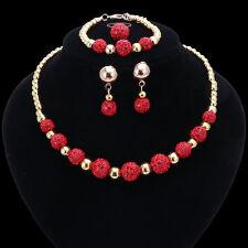Gold Plated Red Shamballa Rhinestone Balls 4 Piece jewelry Set