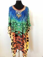 Embellished Kaftan dress  tunic sheer light material animal print free size