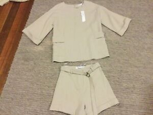 BNWT MINISTRY OF STYLE sand Shorts Matching Nomad Tunic Top Long Sleeves 6