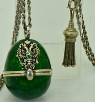 Antique Imperial Russian Faberge 84 silver&enamel Easter Egg pendant necklace
