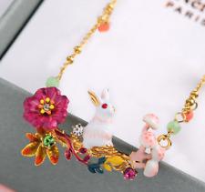 New Betsey Johnson Fashion Woman Alloy Rhinestone Necklace Enamel Rabbit Jewelry