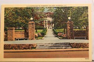 South Carolina SC Anderson College Entrance Postcard Old Vintage Card View Post
