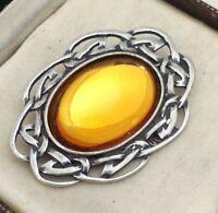 Vintage - 1970s Golden Honey Yellow Glass Pewter Celtic Scottish Brooch Pin