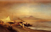 Oil painting oswald achenbach - the bay of naples sunset landscape no framed art