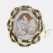 Vintage Shell Cameo and Black Enamel Brooch 9ct Yellow Gold