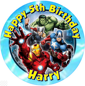 """Avengers personalised icing sheet cake topper 7.5"""" Round"""
