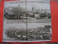 MERIAN 1672  Königin Groß Britanien zu Portsmouth angelangt- HamptonCourt Themse