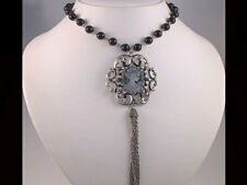"""24"""" Black Glass Pearl Crystal Cameo Necklace Set s0058"""