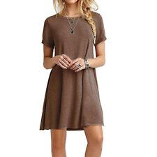 Womens Short Sleeve Mini Dress Summer Casual Shirt Tunic Round Neck Sundress X1