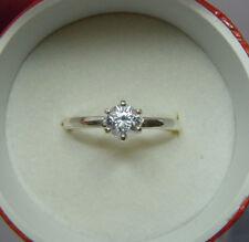 Genuine BRILLIANT ROUND CUT WHITE ZIRCON solitaire ring diamond-shine 1/2ctw 5mm