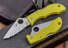 "Spyderco Ladybug 3 Salt Knife 1.93"" Serrated H1 Steel Blade Yellow FRN Handle"